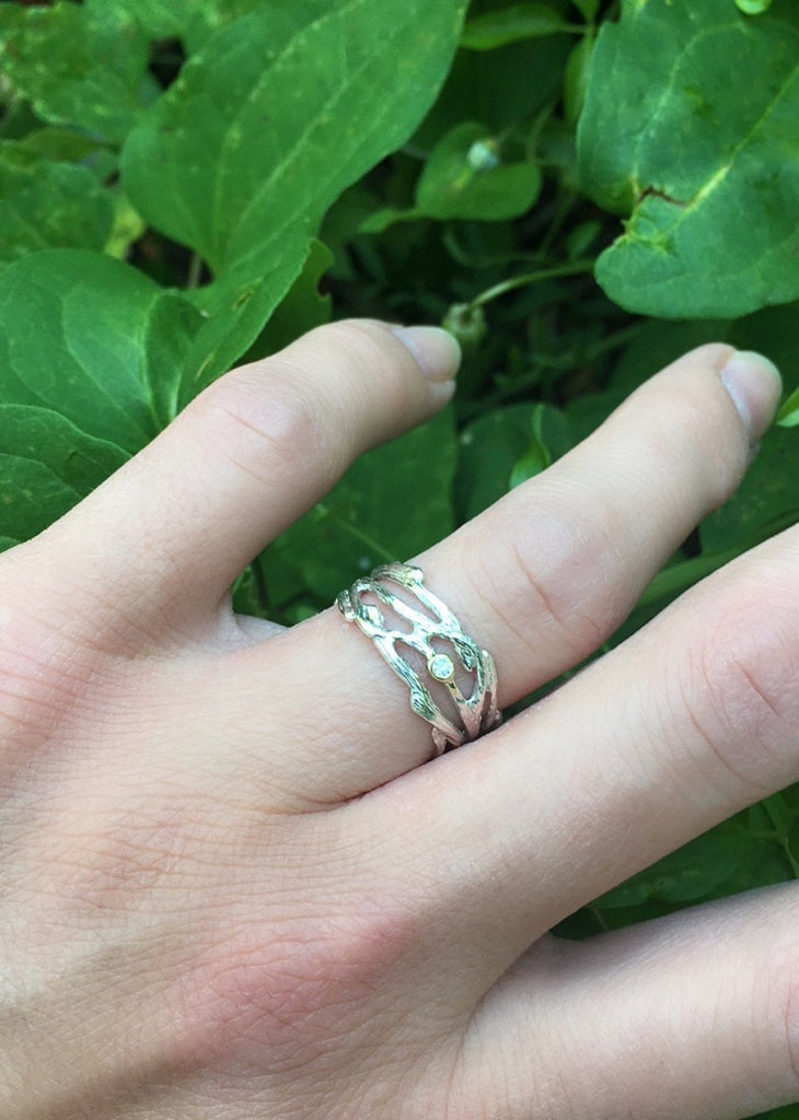 Sterling Multi-Branch Ring with Diamond Accent - InBloomJewelry