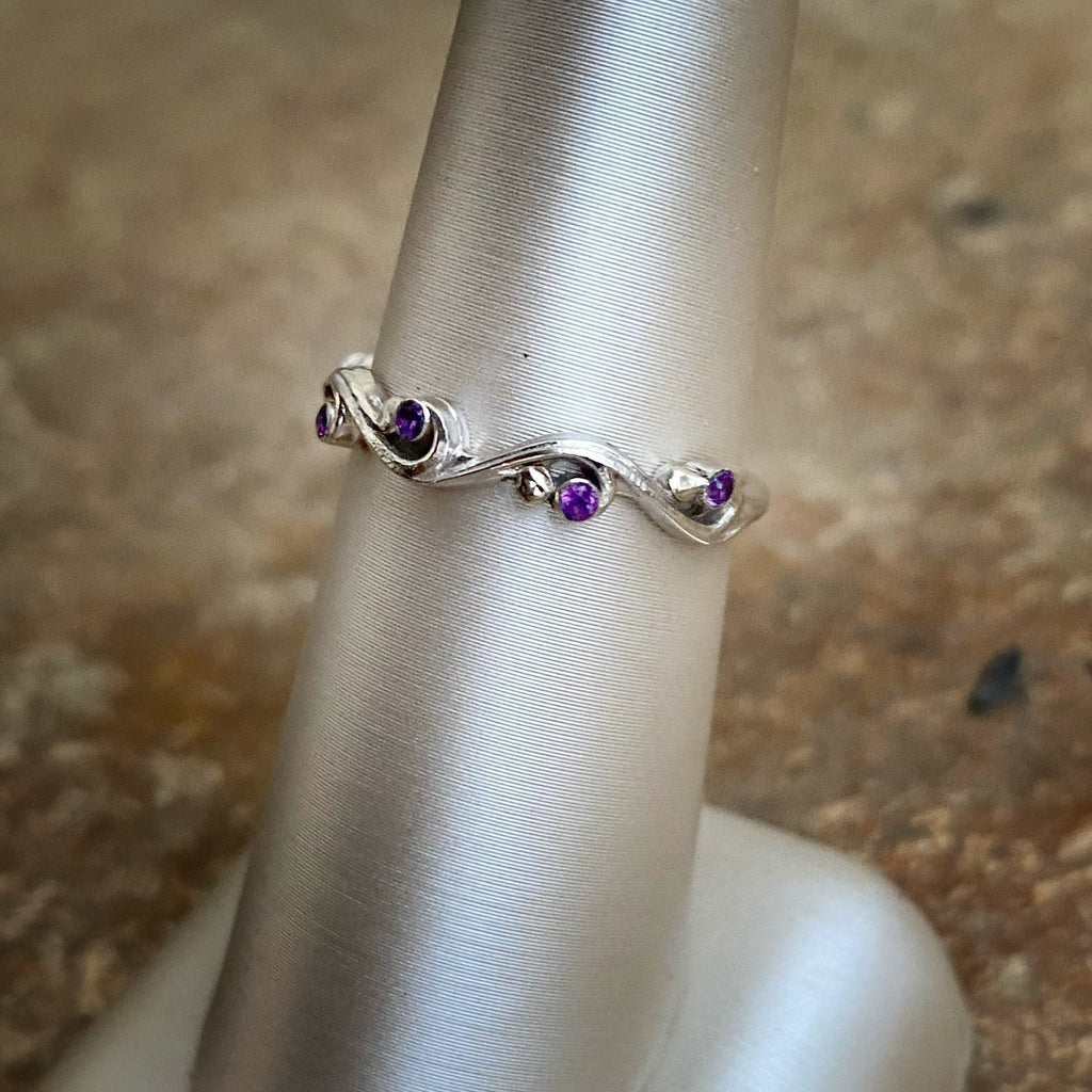 Swirl Ring with Amethysts - InBloomJewelry