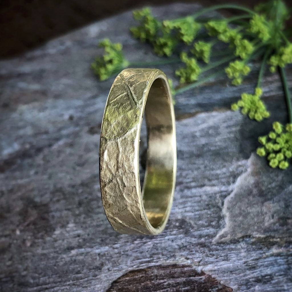 Thin Leaf Textured Band - InBloomJewelry