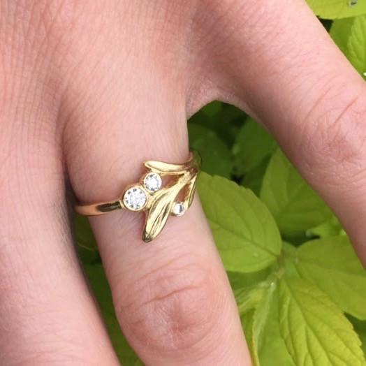 Three Stone Leaf Ring - InBloomJewelry