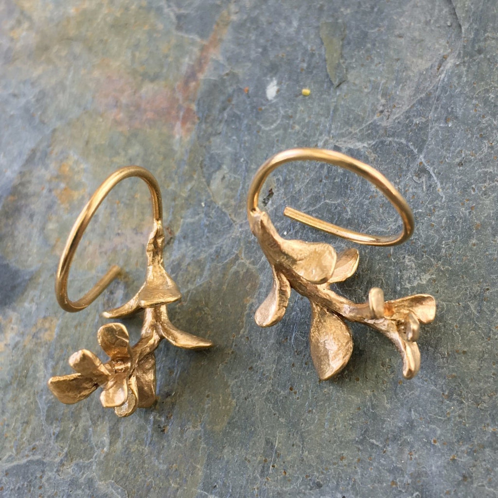 Tiny Sedum Reverse Hoop Earrings - InBloomJewelry