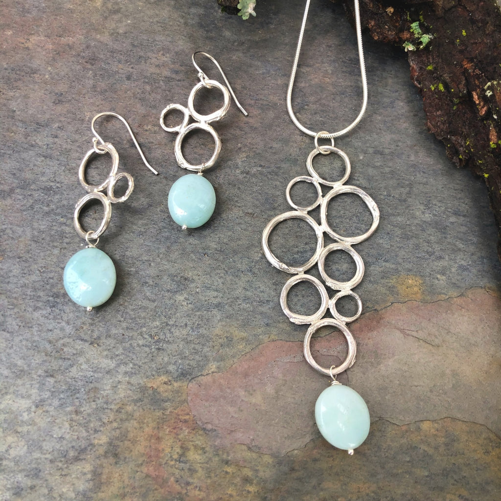 Twig Circle Cluster Necklace and Earring set - InBloomJewelry
