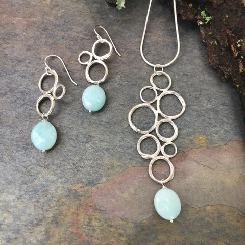 Twig Circle Cluster Necklace and Earring set