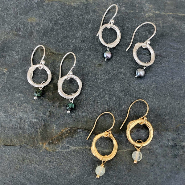 Twig Circle Earrings with Pearls - InBloomJewelry