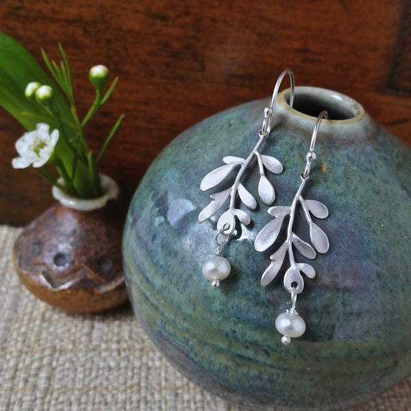 Vine Medium Earrings with Pearls - InBloomJewelry