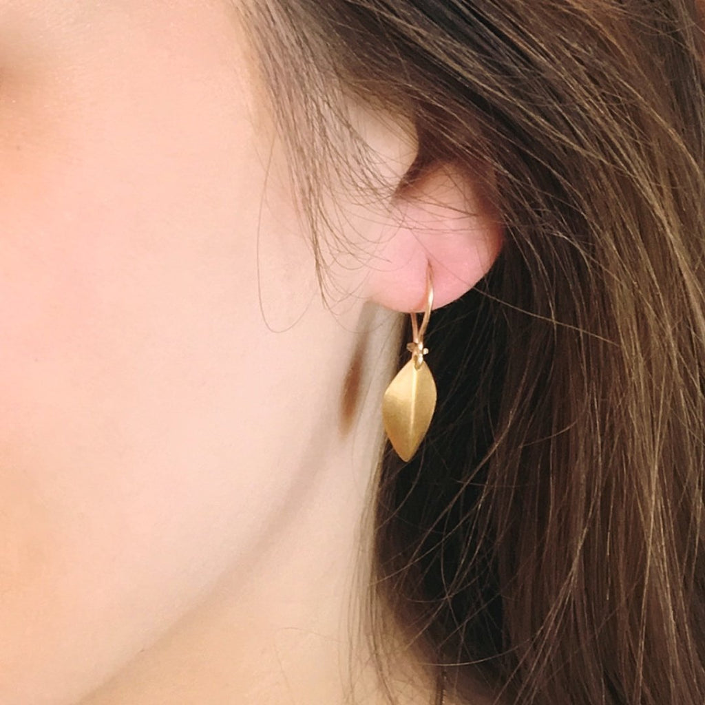 Wide Sculptured Leaf Earrings - InBloomJewelry
