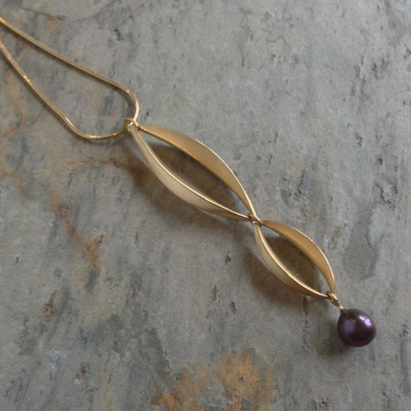 Willow Double-Drop Pendant with Pearl - InBloomJewelry