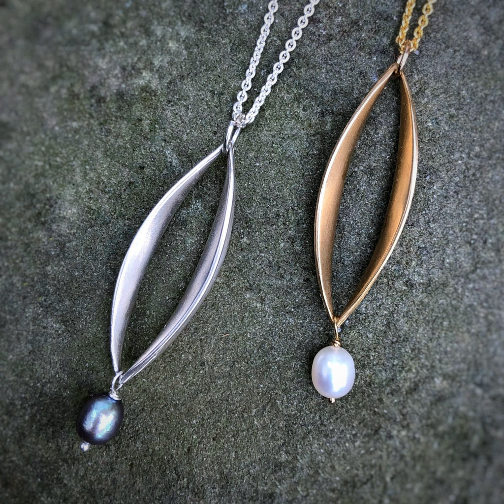 Willow Medium Pendant with Pearl Drop - InBloomJewelry