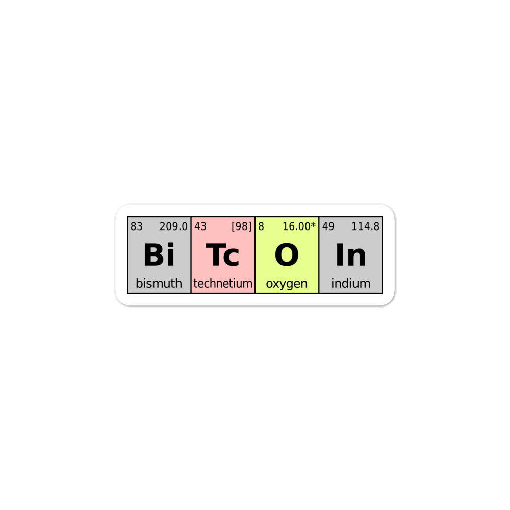 Bitcoin Periodic Table Bubble-Free Vinyl Stickers 3x3  - zeroconfs