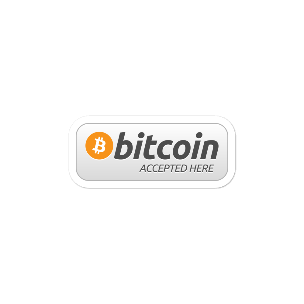 Bitcoin Accepted Here Bubble-Free Vinyl Stickers 3x3  - zeroconfs