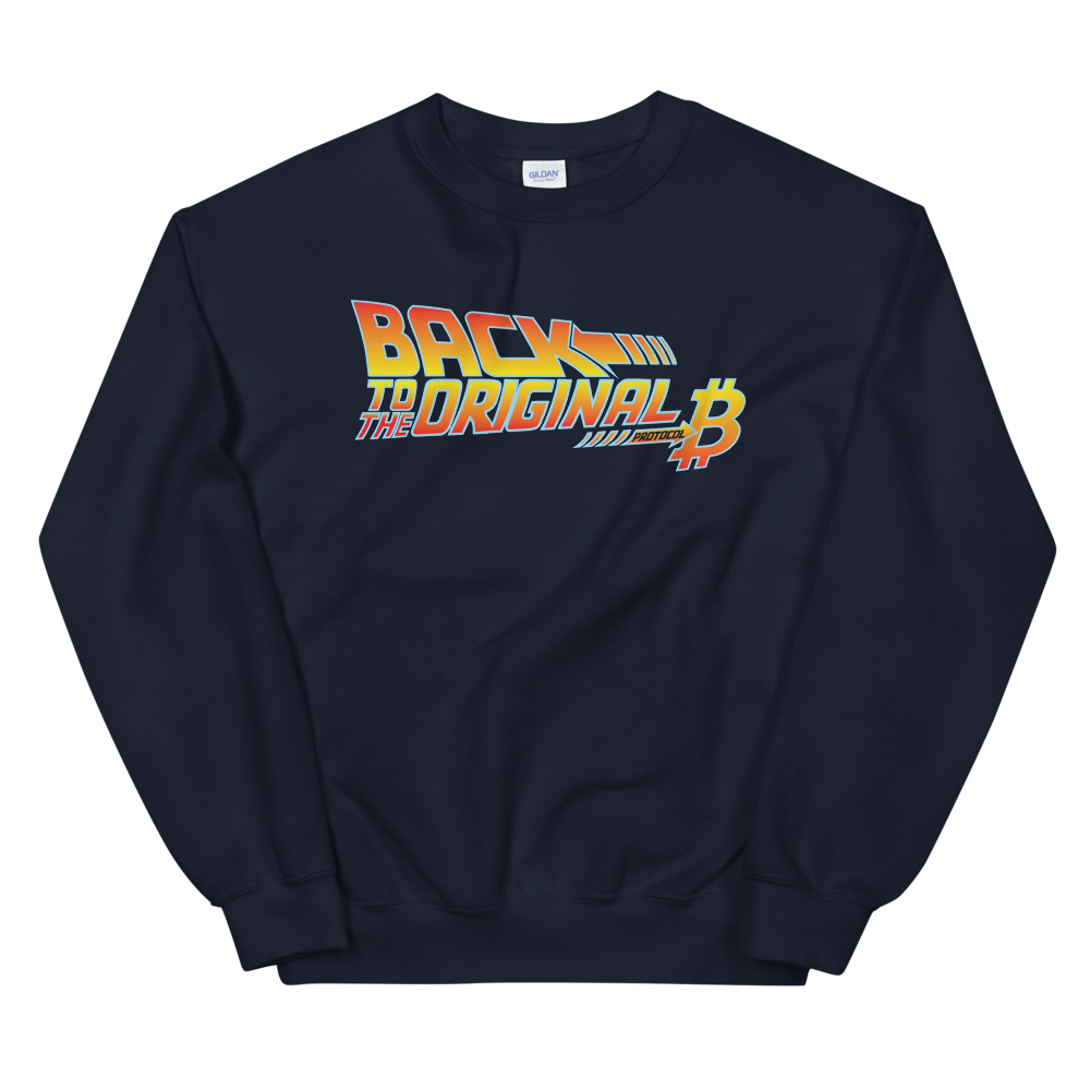 Back To The Original Bitcoin Protocol Sweatshirt Navy S - zeroconfs