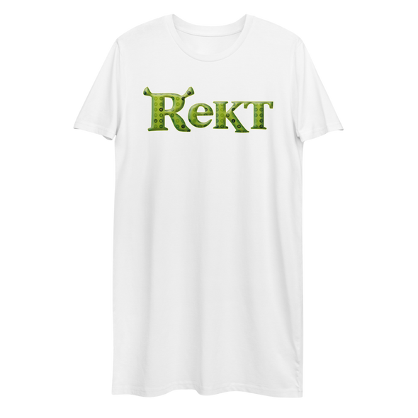 Rekt Crypto Premium T-Shirt Dress White XS - zeroconfs
