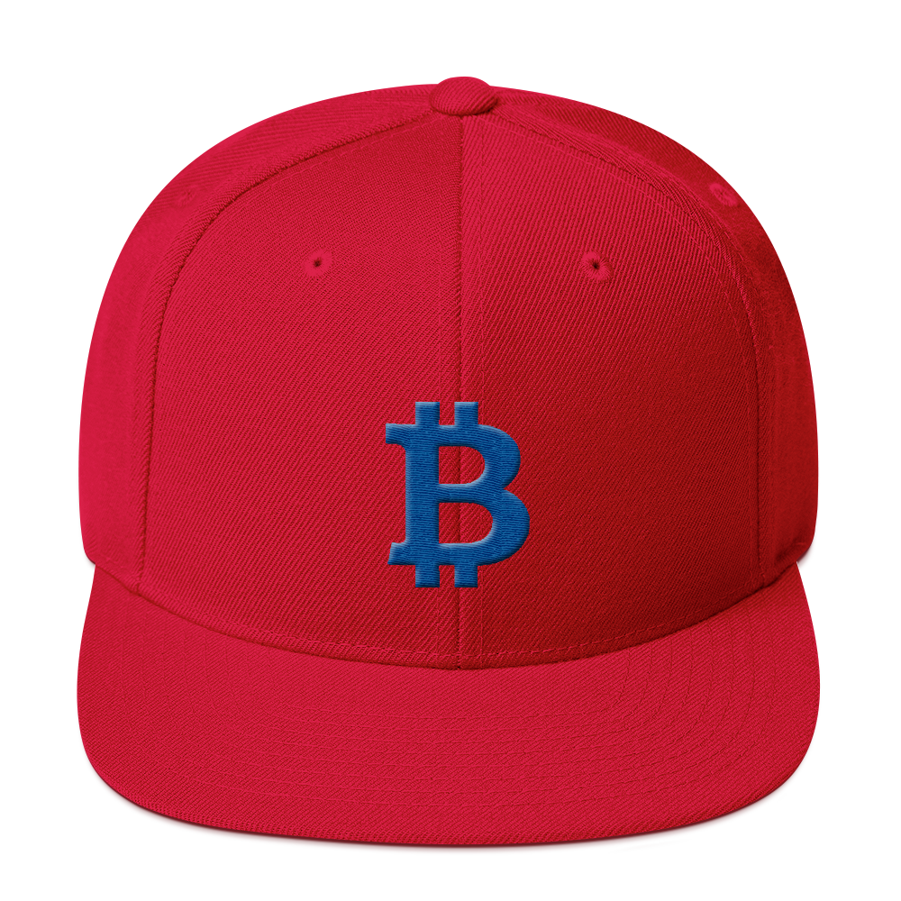Bitcoin B Snapback Hat Blue Red  - zeroconfs