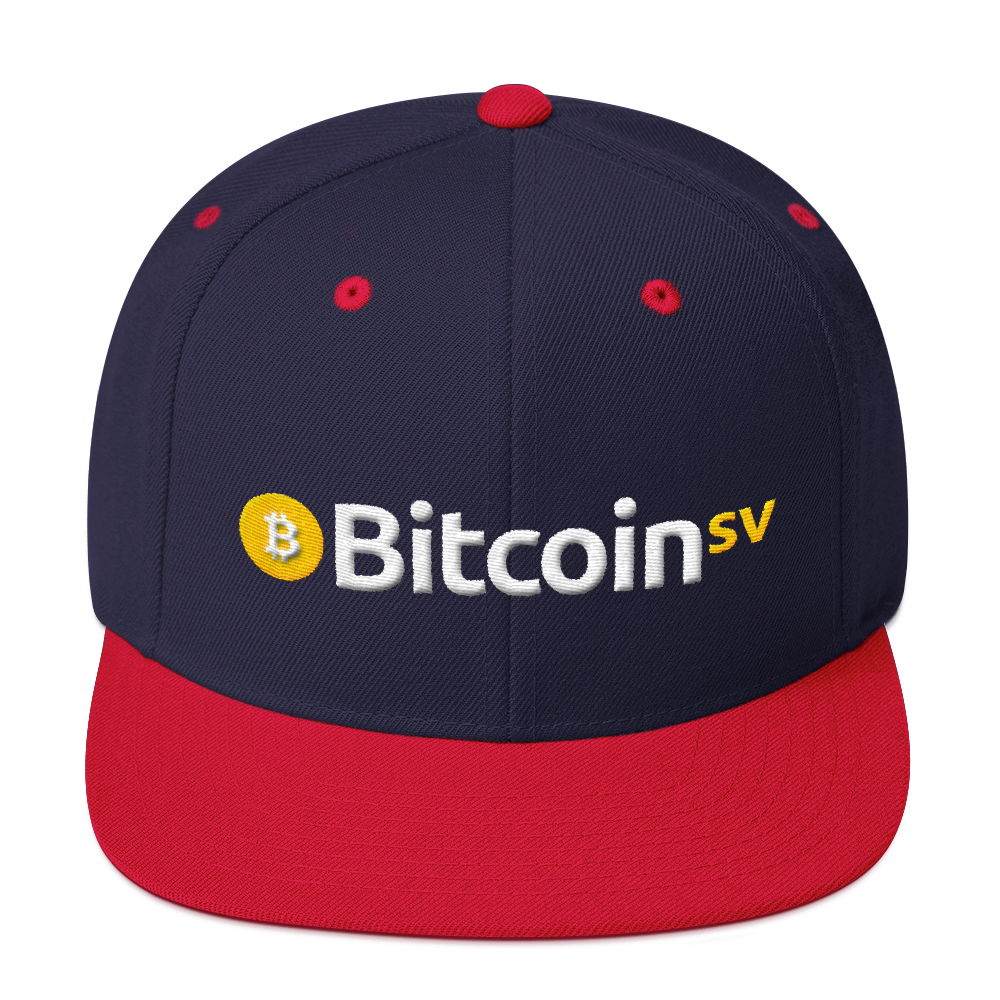 Bitcoin SV Snapback Hat Navy/ Red  - zeroconfs