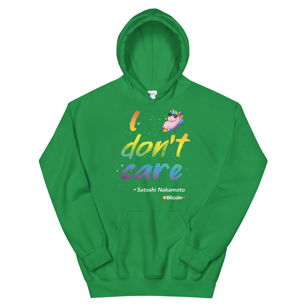 I Don't Care Bitcoin SV Hooded Sweatshirt Irish Green S - zeroconfs