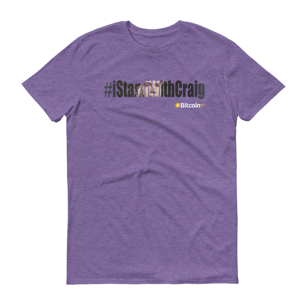 #iStandWithCraig Bitcoin SV Short-Sleeve T-Shirt Heather Purple S - zeroconfs
