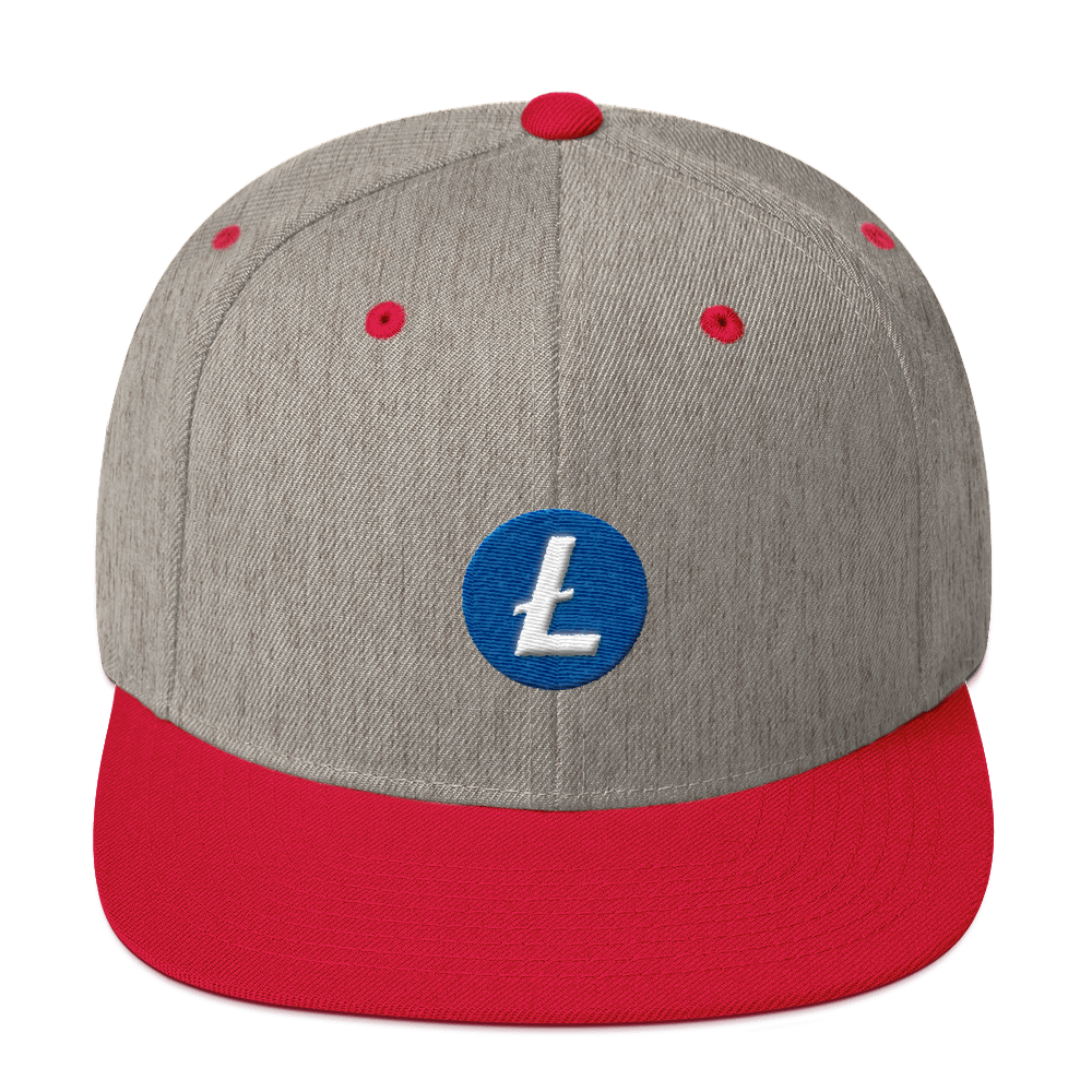 Litecoin Snapback Hat Heather Grey/ Red  - zeroconfs