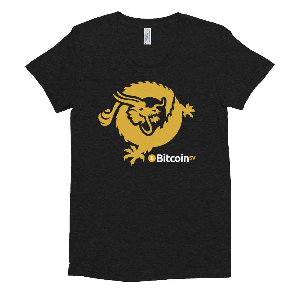 Bitcoin SV Dragon Women's Crew Neck T-Shirt Tri-Black S - zeroconfs