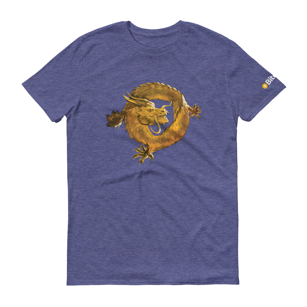 Bitcoin SV Woken Dragon Short-Sleeve T-Shirt Heather Blue S - zeroconfs
