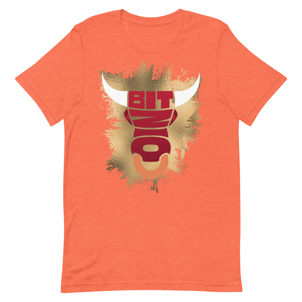 Bitcoin Bull Short-Sleeve T-Shirt Heather Orange S - zeroconfs