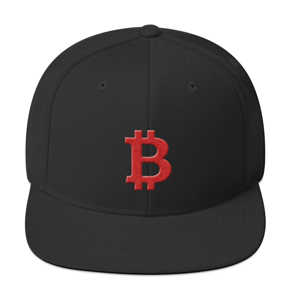 Bitcoin B Snapback Hat Red Black  - zeroconfs