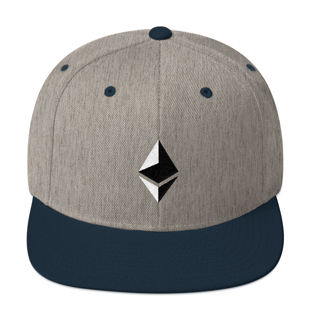 Ethereum Snapback Hat Heather Grey/ Navy  - zeroconfs