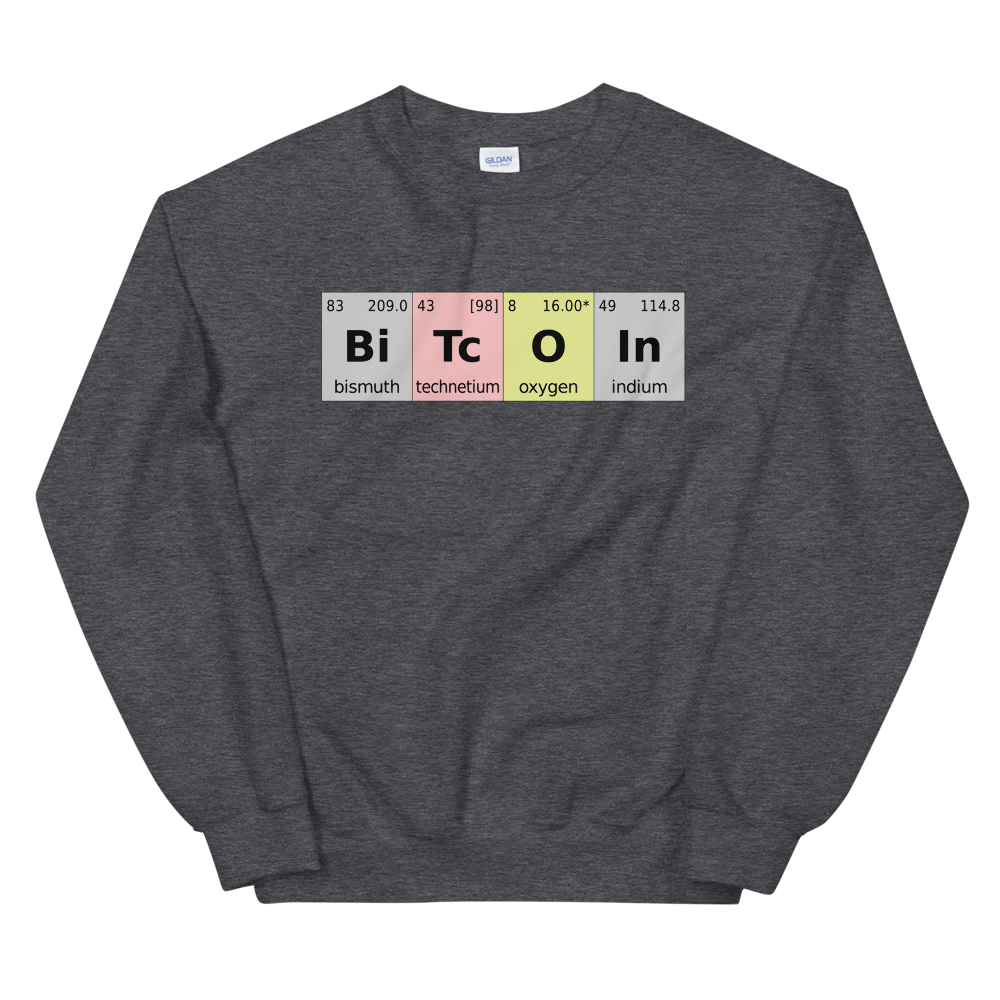 Bitcoin Periodic Table Sweatshirt Dark Heather S - zeroconfs