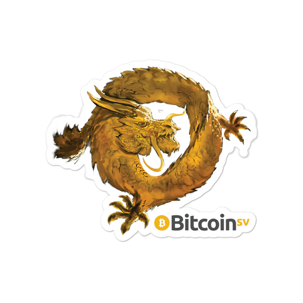 Bitcoin SV Woken Dragon Bubble-Free Vinyl Stickers 4x4  - zeroconfs