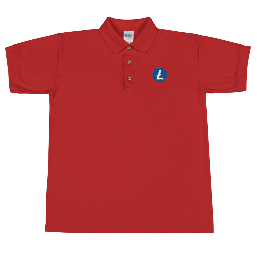 Litecoin Embroidered Polo Shirt Red S - zeroconfs