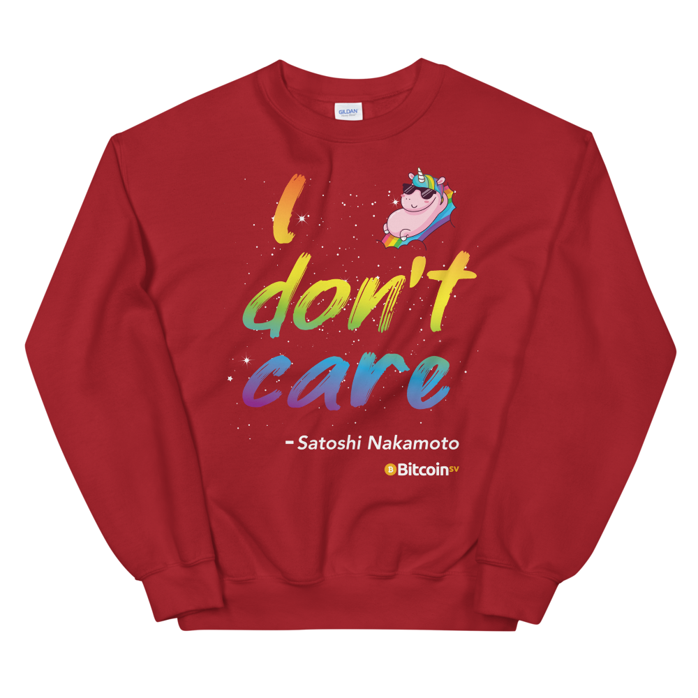 I Don't Care Bitcoin SV Sweatshirt Red S - zeroconfs