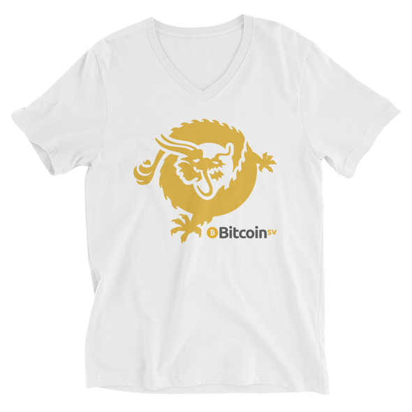 Bitcoin SV Dragon V-Neck T-Shirt White S - zeroconfs