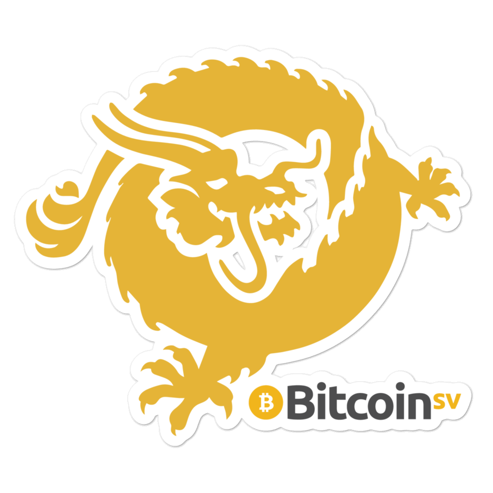 Bitcoin SV Dragon Bubble-Free Vinyl Stickers 5.5x5.5  - zeroconfs