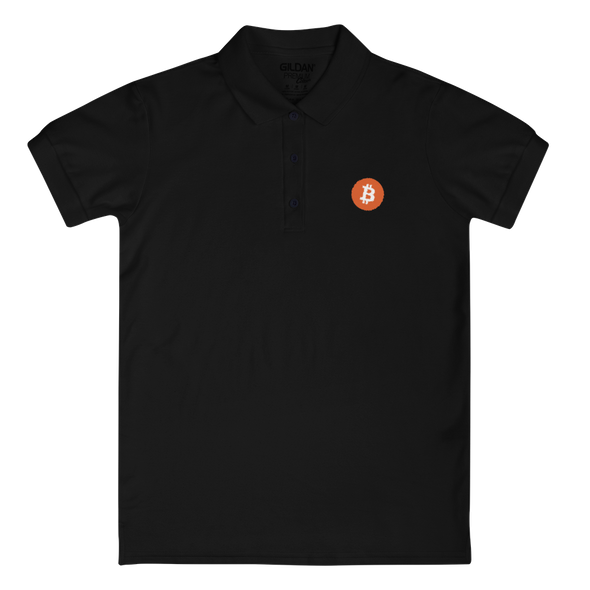 Bitcoin Core Embroidered Women's Polo Shirt Black S - zeroconfs