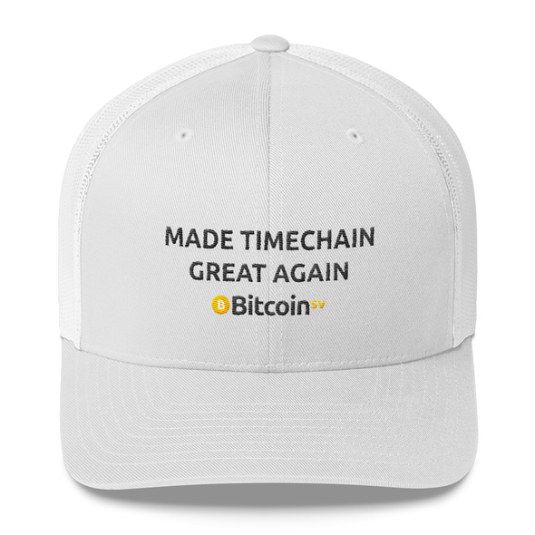 Made Timechain Great Again Bitcoin SV Trucker Cap White  - zeroconfs