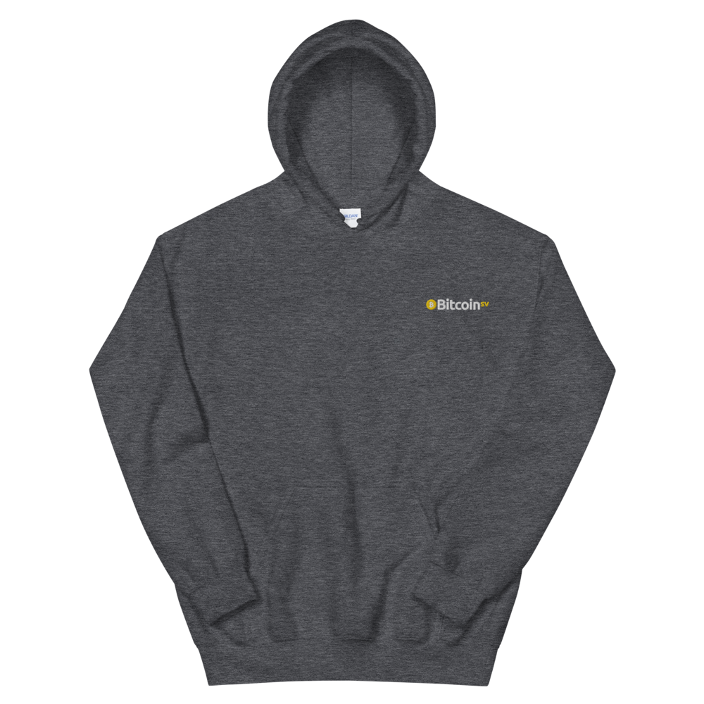 Bitcoin SV Embroidered Hooded Sweatshirt Dark Heather S - zeroconfs