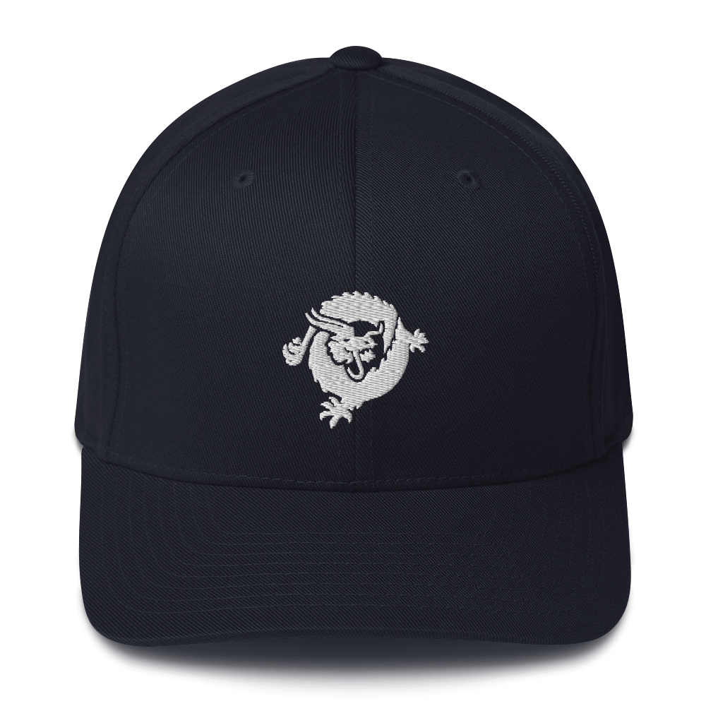 Bitcoin SV Dragon Flexfit Cap White Dark Navy S/M - zeroconfs