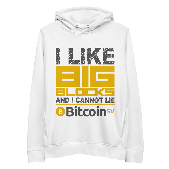 I Like Big Blocks Bitcoin SV Premium Eco Hoodie White S - zeroconfs