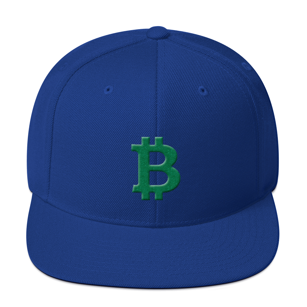 Bitcoin B Snapback Hat Green Royal Blue  - zeroconfs