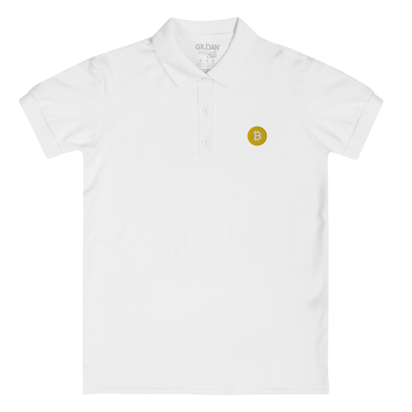 Bitcoin SV Logo Embroidered Women's Polo Shirt White M - zeroconfs