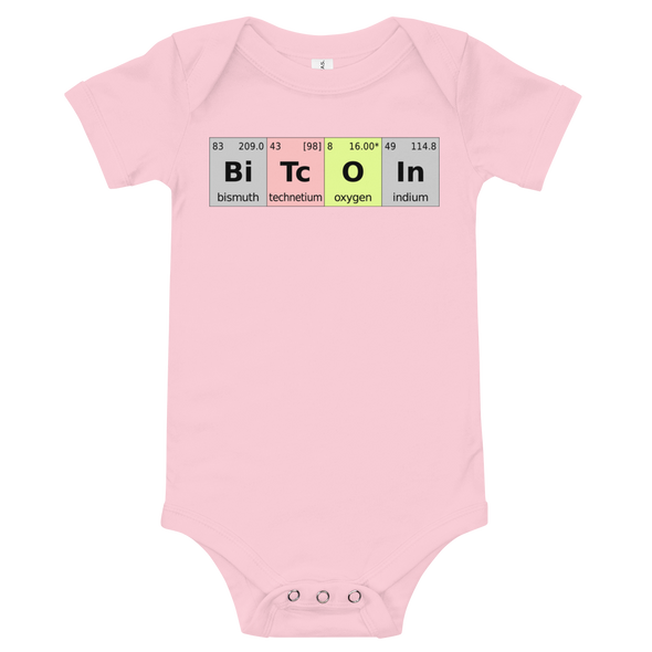 Bitcoin Periodic Table Baby Bodysuit Pink 3-6m - zeroconfs