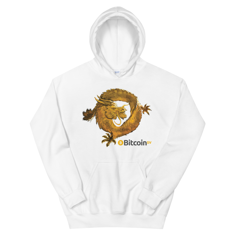 Bitcoin SV Woken Dragon Women's Hooded Sweatshirt White S - zeroconfs