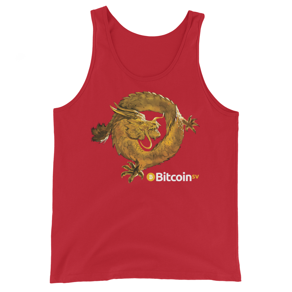 Bitcoin SV Woken Dragon Tank Top Red XS - zeroconfs