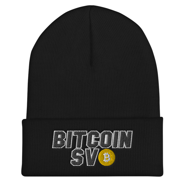 Bitcoin SV Sports Cuffed Beanie Black  - zeroconfs