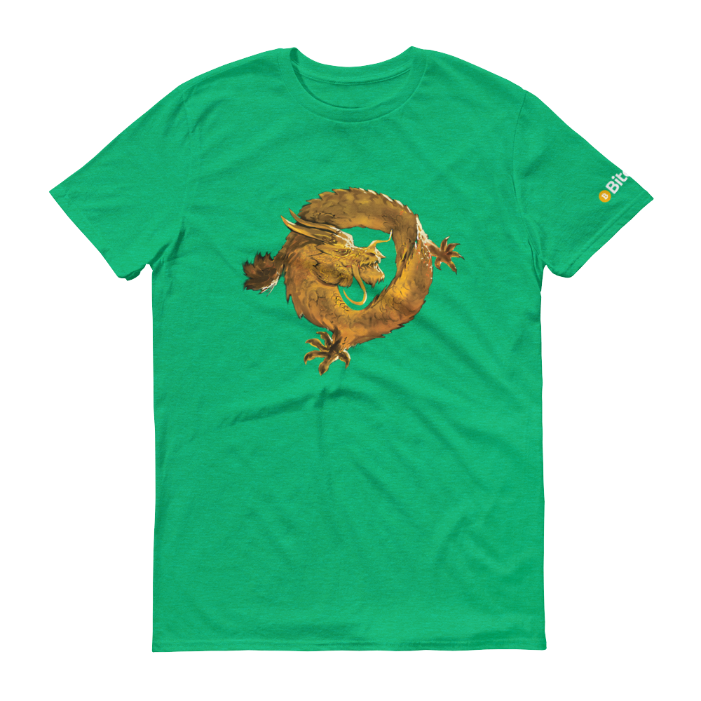 Bitcoin SV Woken Dragon Short-Sleeve T-Shirt Heather Green S - zeroconfs