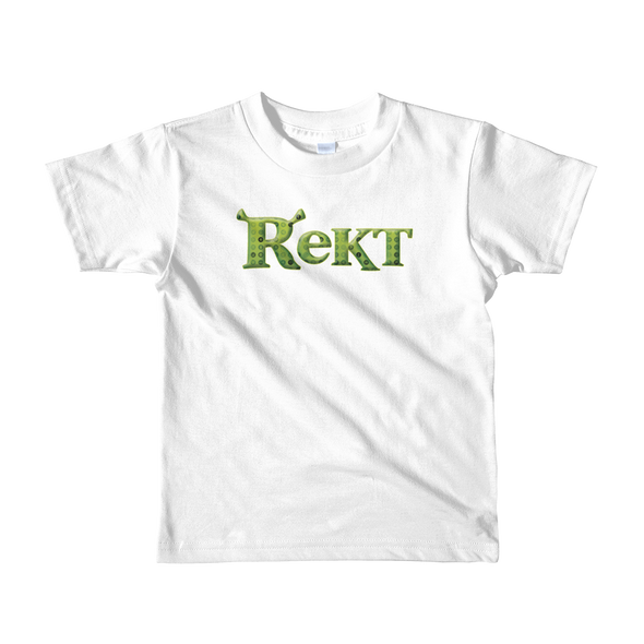 Rekt Crypto Short Sleeve Kids T-Shirt White 2yrs - zeroconfs