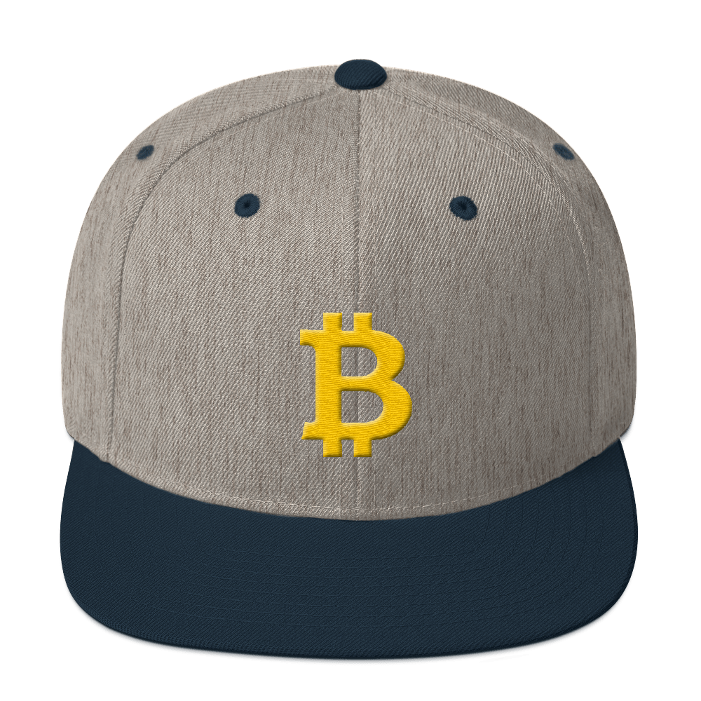 Bitcoin B Snapback Hat Heather Grey/ Navy  - zeroconfs