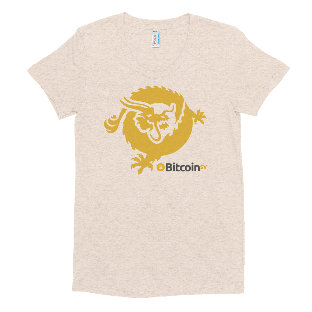 Bitcoin SV Dragon Women's Crew Neck T-Shirt Tri-Oatmeal S - zeroconfs