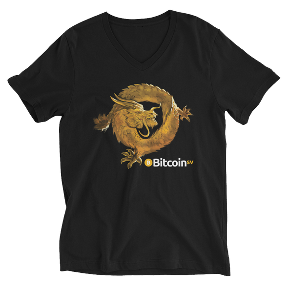 Bitcoin SV Woken Dragon V-Neck T-Shirt Black S - zeroconfs