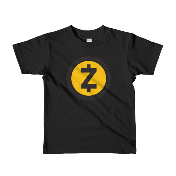 Zcash Short Sleeve Kids T-Shirt Black 2yrs - zeroconfs