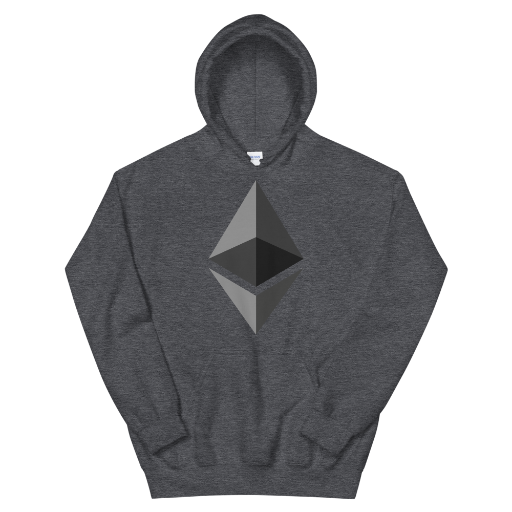 Ethereum Hooded Sweatshirt Dark Heather S - zeroconfs